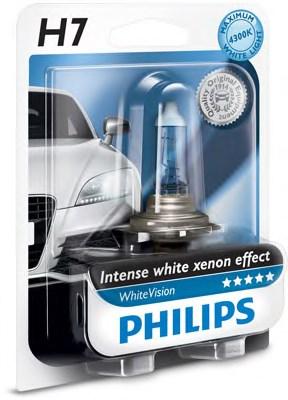 Лампа галогенная PHILIPS 12972WHVB1 H7 WhiteVision +60% 4300K, 1 штука