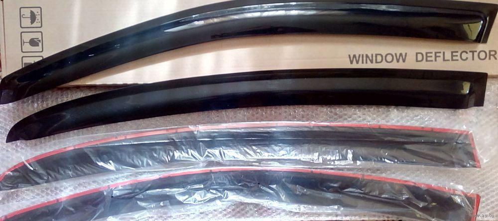 Дефлекторы окон, ветровики VW Passat B6 седан c 2005 ., черные, накладные, кт 4 шт. Prestige